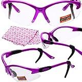 Cougar safety glasses, hot pink, clear lens, global vision