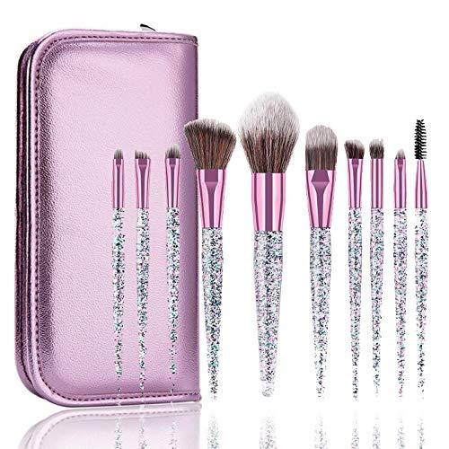HUJBFTY 10Pcs Rhinestone Crystal Glitter Makeup Brushes Set Pro Foundation Brushes Blending Concealer Make Up Brush Set