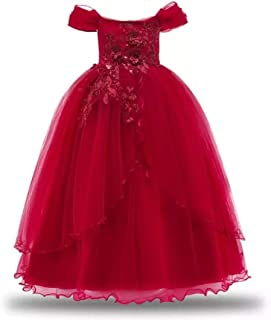 BestGift High Quality Girls Dress Winter Christmas Party Kids Dresses For Girls Long Wedding Dresses Toddler Princess Dress Pink Color