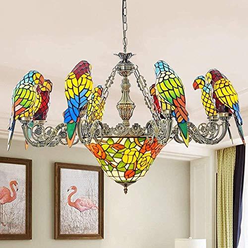 SDHouse Lámpara de Techo Lámpara Colgante Estilo de 8 Loros, vidrieras, lámpara de Techo LED mediterránea Retro, luz cálida, Sala de Estar, Bar, Restaurante, cafetería