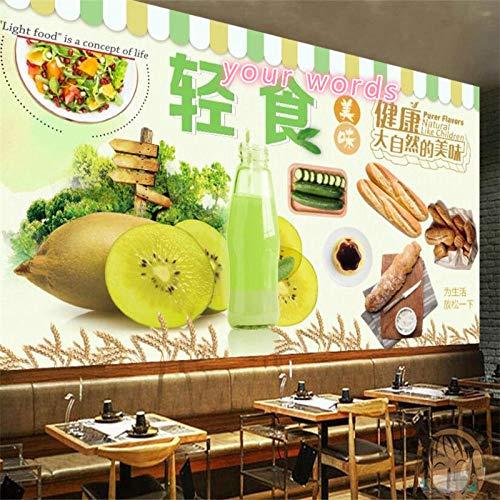 Grün Gesundes Natürliches Grobkornbrot Leichtes Essen Frischer Saft Hintergrund Tapete 3D Bäckerei Snack Bar Wandbild Tapete 3D-350 * 245Cm