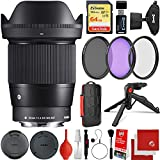 Sigma 16mm f/1.4 DC DN Contemporary Lens Panasonic Olympus Micro Four Thirds Bundle with 64GB Memory Card, 3 Piece Filter Kit, Wrist Strap, Card Reader, Memory Card Case, Tabletop Tripod
