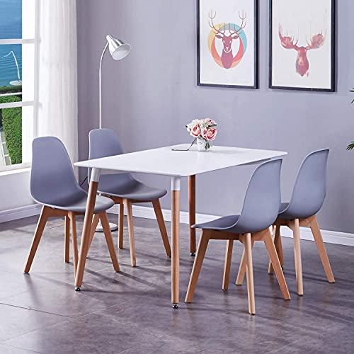 GOLDFAN Esstisch mit 4 Stühlen Küchentisch Wohnzimmertisch Holztisch Tisch Set für Wohnzimmer Küche Büro Weiße Tisch und Grau Stühle