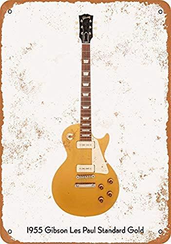 Odeletqweenry Tin Sign, Gitaar Art, Vintage Look Metalen bord Muur Décor, Gibson Les Paul Standaard Goud Wandplaat bord 12