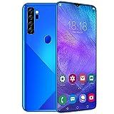 bizofft Smartphone Full HD de 6,7', Huella Digital de desbloqueo gsm Dual SIM, 8 + 256 GB, Batería de Larga duración, Cámara Frontal de 13MP + cámara Trasera de 24MP, Modelo Internacional (Azul)(yo)