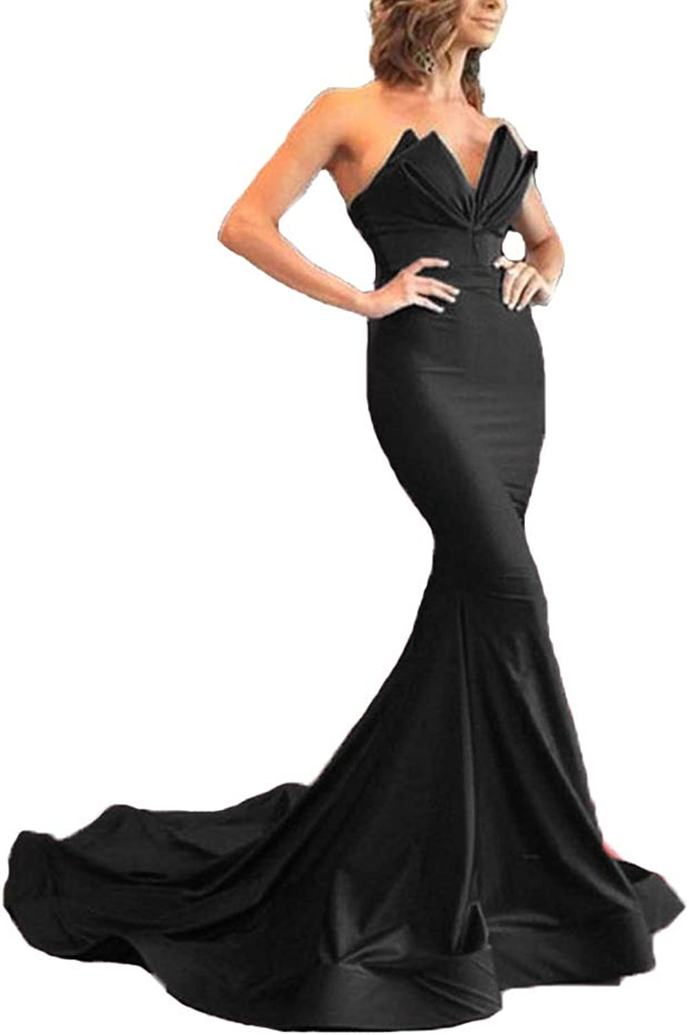 XingMeng Women's Long Mermaid Prom Evening Dresses Sexy Satin Formal Party Gown