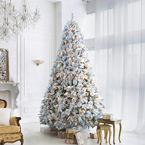 ANOTHERME 7.5ft Snow Flocked Christmas Tree Feel Real, Pre-Lit 650 Warm Lights UL Certified w/ 1,582 PE Mixed Branch Tips, Holiday Decor Artificial Trees - White