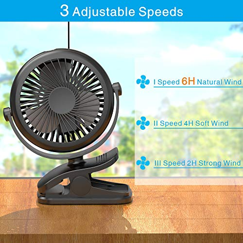 Rechargeable 2200mAh Battery Portable USB Small Fan for Baby Stroller Traveling 3 Adjustable Speed Stroller Fan Black Camping Warmfill Clip On Fan Battery Operated Fan 360 Degree Rotation