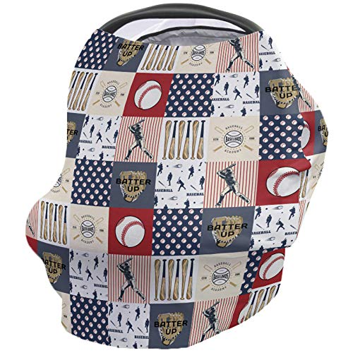 Baby Car Seat Nursing Cover for Breastfeeding Scarf, Baseball Sport, Ultra Soft Breastfeeding Covers Poncho Canopy for Boy Girl, Infant Stroller Cover, Red Navy Blue