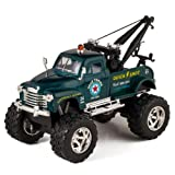 KiNSMART Green 1953 Chevy Off-Road Wrecker Die Cast Tow Truck Toy with Monster Wheels
