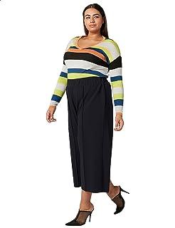 Splash Elastic Waist Culotte Pants for Women 6XL