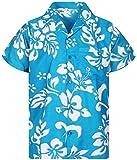 King Kameha Funky Camicia Hawaiana, Hibiscus, Turchese, XL
