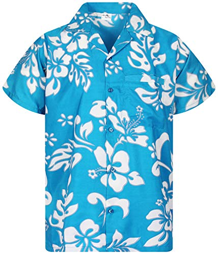 Camisa Hawaiana para Hombre Funky Casual Button Down Very Loud Manga Corta Unisex Hibiscus