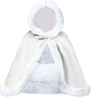 Wedding Cape Hooded Cloak for Bride Winter Reversible with Fur Trim Free Hand Muff Hip-length 18 Colors by BEAUTELICATE