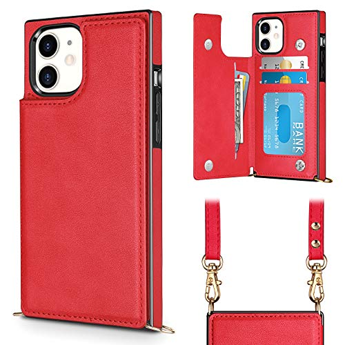 Vofolen for iPhone 11 Case with Lanyard Neck Crossbody Strap Wallet Credit ID Card Holder Detachable Protective Square Flip Slim Cover Soft Leather Double Magnetic Clasp for iPhone 11 6.1inch Red