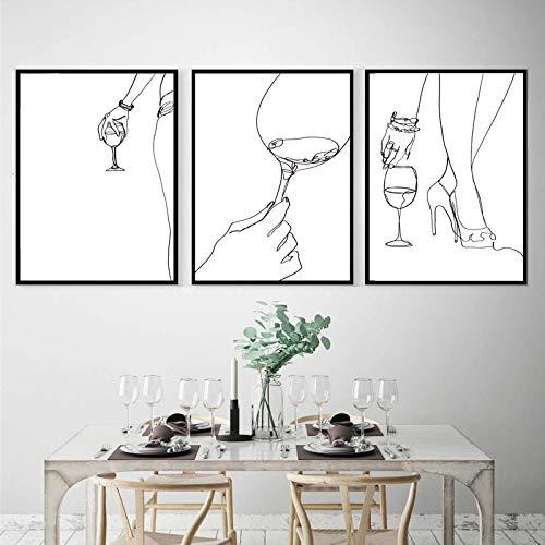 Cartel de vino abstracto cuerpo de mujer dibujo de una línea impresiones Wine Lover Bar decoración regalo cocina pared arte lienzo pinturas 45x60cm sin marco