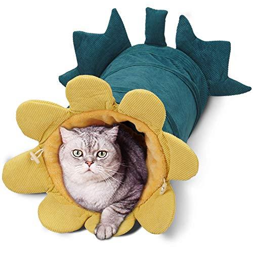 Dociote Katzentunnel - faltbares Katzenspielzeug Rascheltunnel Spieltunnel mit Fleece und Raschelfolie Ø 25 cm Länge 50cm für Katzen, kleine Hunde und Kleintiere Grün