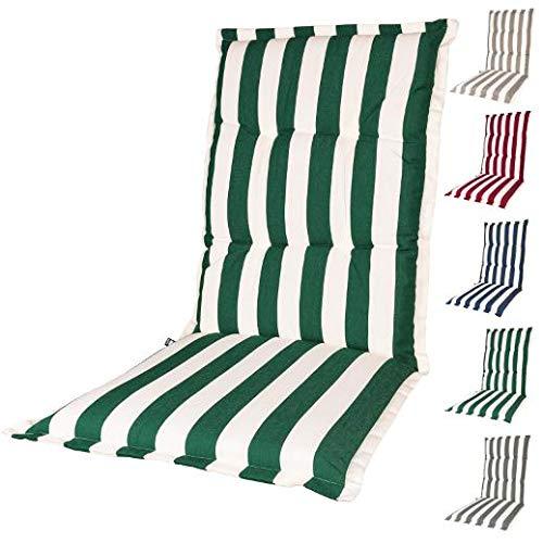 Kopu®-kussen hoge rug Mila Forest Green | Tuinkussen voor standenstoelen | Forest Green tuinkussen 125 x 50 cm | 5 verschillende kleuren | Stevig schuim voor extra comfort