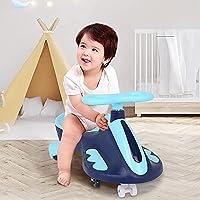 子供の車、携帯用子供たちの楽しい乗車中のスクーター/屋外の屋内遊びのための点滅車、トリケプッシュパワースクーター (Color : Blue)
