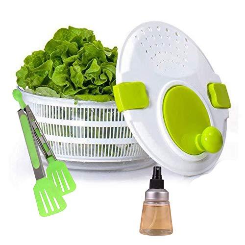 Pack » Centrifugadora, escurridora de agua de Lechuga o verduras + Pinzas de Alimentos y un difusor de aceite para alinear las ensaladas (Pack Verde)