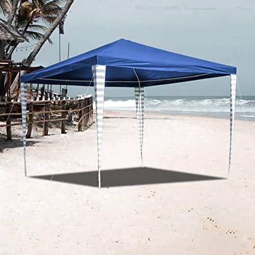 VINGO Pavillon 3x3m Wasserdicht Ohne Seitenteile Blau Partyzelt Gartenzelt UV-Schutz für Garten Markt Camping Hochzeiten Festival