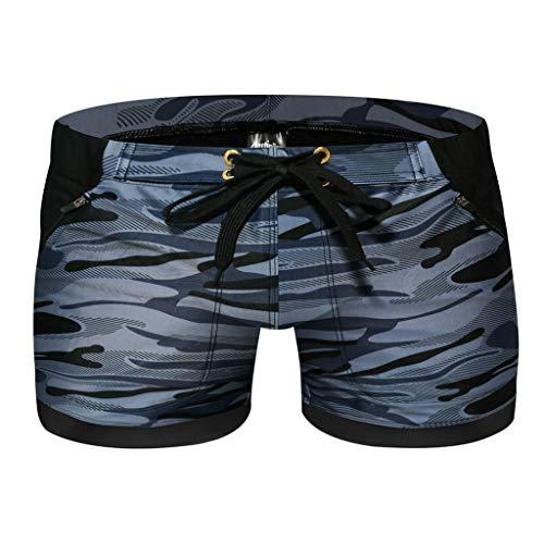 Yowablo Homme Slip De Bain Mode de Natation Respirant Trunks Pantalon Plage Imprimer sous-vêtements de Course (XL,7Gris)
