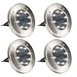 Solpex Solar Powered Disk Lights, 8LED Solar Ground Lights Outdoor Waterproof Garden Landscape Lighting for Yard Pathway Deck Lawn Patio Walkway-White (4 Pack)