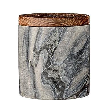Bloomingville A45200064 Grey Marble Jar with Mango Wood Lid