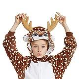 ANBOTA Kids Deer Costume Onesie for Halloween Boys Girls Reindeer Party Cosplay Fleece One Piece Pajama, Deer, 130