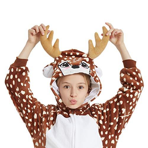 ANBOTA Kids Deer Costume Onesie for Halloween Boys Girls Reindeer Party Cosplay Fleece One Piece Pajama Zipper Closure, Deer, 130