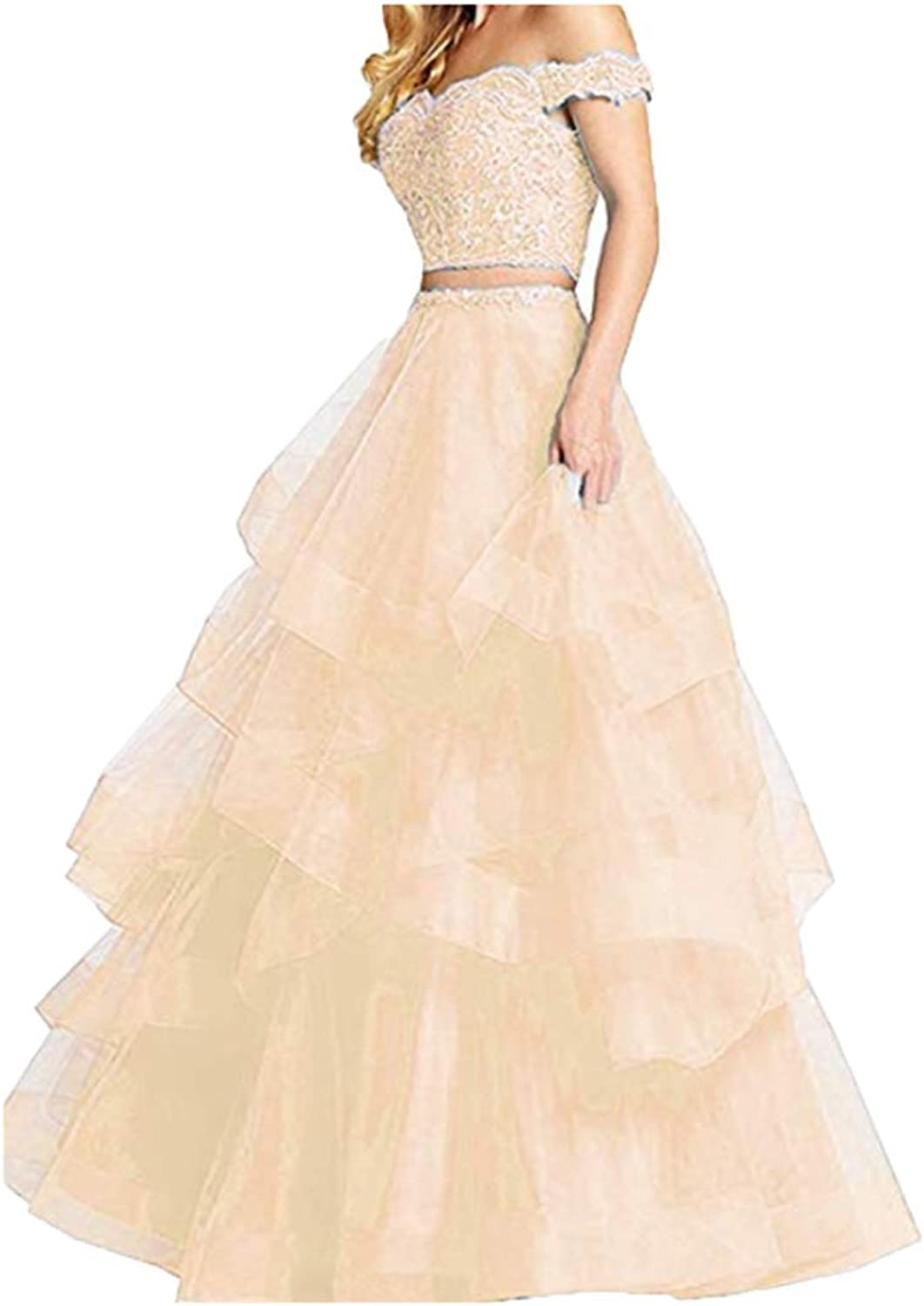 FWVR Women's Off Shoulder Lace 2 Piece Prom Dresses 2019 Ball Gown Tulle Party Gowns