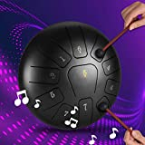 TTLIFE Tamburo a lingua in acciaio, strumento a percussione a tamburo da 10 pollici a 11 note con borsa per il trasporto di mazze a tamburo, 2 bacchette e punta delle dita