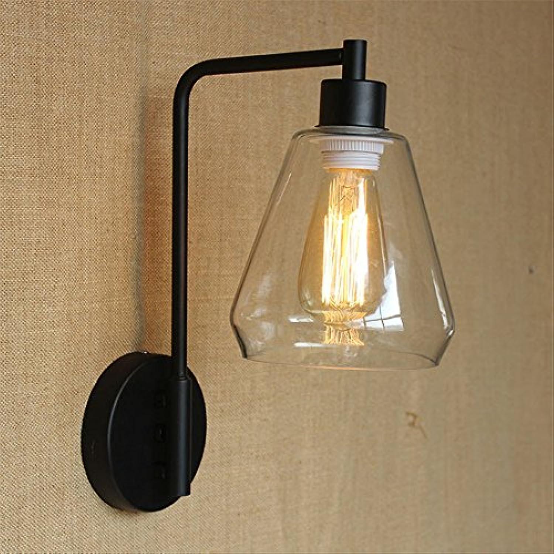 Wandbeleuchtung,Schlafzimmer Nachttischlampe einfache Glas Single Head Wohnzimmer Gang Hotel Restaurant Hintergrund Wandleuchte, 220mm155mm