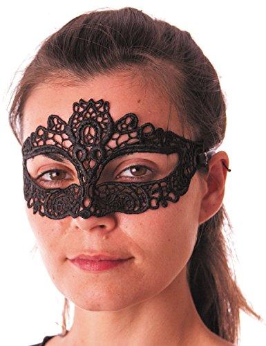 Party Pro 865124 Masque vénitien Violet et doré Loup Tissu dentelle, Noir
