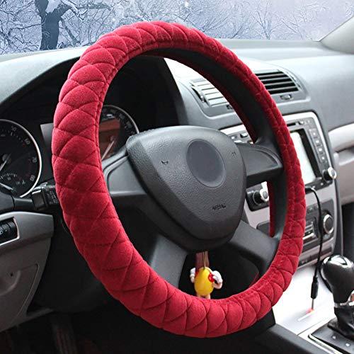 Couverture De Volant De Voiture Chaud Doux Peluche Enjoliveur De Roue Respirant Confortable Four Seasons Universal -37-39Cm,Red