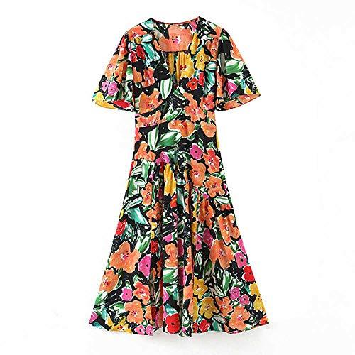 Een lijn bedrukte jurk Dames met korte mouwen Mode Kleurrijke zomerjurk Dames V-hals Casual Midi Jurken 2020