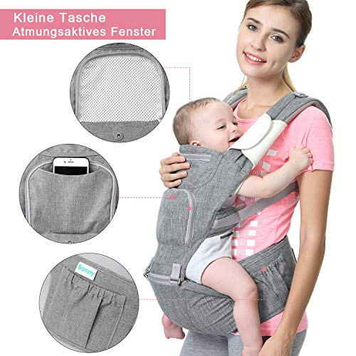 Bamny Marsupio Neonati Ergonomico Baby Carrier Portantina per Bebè 6 in 1-Multifunzione Regolabile Porta Bebè con Cappuccio Rimovibile Traspirante Mul
