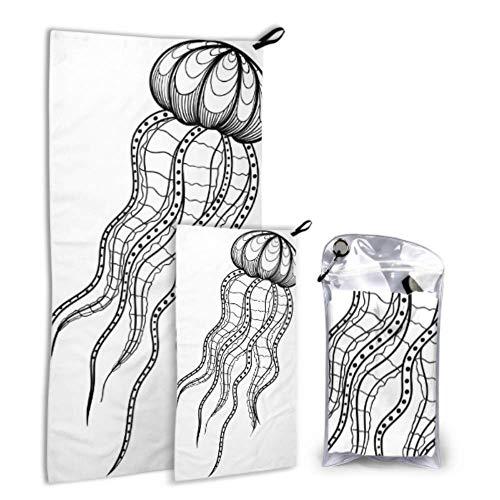 Plsdx Quallen von Vintage Lines 2er Pack Mikrofaser Damen Handtuch Körper Handtuch Set schnell trocknend Am besten für Gym Travel Backpacking Yoga Fitnes