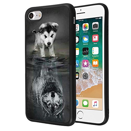 Wolf iPhone 7 8 SE(2020) Case Customized Design Anti-Scratch Flexible Shock Absorption Soft TPU Protective Phone Case for iPhone 7 8-Black