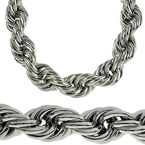 Huge 20mm Silver Tone Thick Hollow Rope 36 Inch Long Necklace Hip Hop Dookie Men's Bling Chain