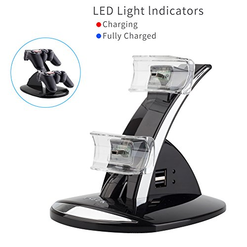 VSEER Playstation 3 Controller Charger, Dual Console Charger Charging Docking Station Stand for Playstation 3 PS3 with LED Indicators, Black