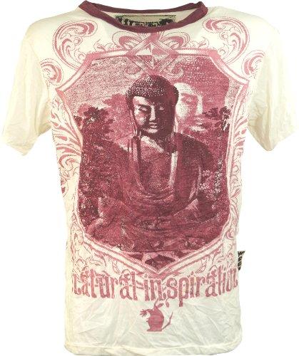 GURU SHOP Weed T-Shirt, Herren, Buddha Weiß, Baumwolle, Size:M, Bedrucktes Shirt Alternative Bekleidung