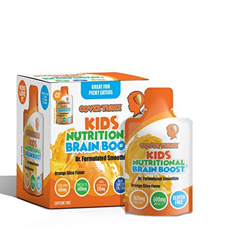 Kids Nutritional Brain Supplement - Boost Child Memory, Focus, Calmness - Support Brain, Immune, Vision, Heart Health - Omega Fish Oil DHA, Vitamin C, Turmeric, Resveratrol - Liquid Squeeze Pouch