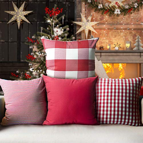 heartybay Christmas Throw Pillow Covers 4 Pack 18x18 Inch Red & White Holiday Decor Square Cotton Canvas Cushion Case for Sofa Couch Bedroom Car(Pure Red, Checkers Plaid, Stripe, Lattice)