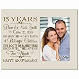 LifeSong Milestones Personalized Fifteen Year for her him Couple Custom Engraved Wedding Gift for Husband Wife Girlfriend Boyfriend Photo Frame Holds 4x6 Photo (Ivory)