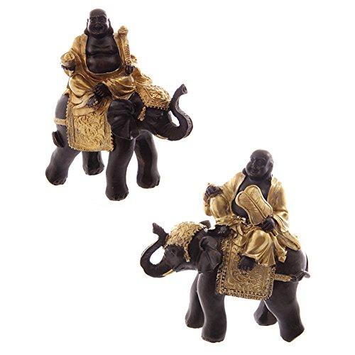Gros Bouddha Rieur Chinois Or & Marron Sur Elephant