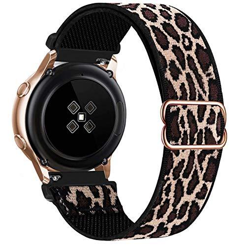 GBPOOT 20mm Correa Compatible con Samsung Galaxy Watch Active 2(40mm/44mm)/Watch 3 41mm/Watch 42mm/Gear S2,Reloj Ajustable de Repuesto Deporte Strap,Pulsera Nylon Banda,Lepoard,20mm