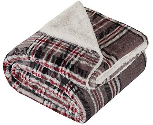 Kuscheldecke Grau Lammfelloptik Wohndecke Tagesdecke Decke Sherpa Plaids Flauschig Weich und Angenehm Warm Perfekt für Winter Microlight to Berber 127x150cm