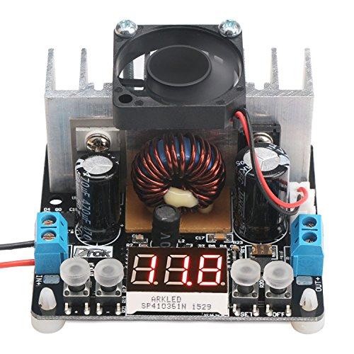 Droking Reglaje del regulador de voltaje ajustable con ventilador del disipador DC-DC Buck Convertidor 6-40V a 0-38V 8A Estabilizador de voltaje Fuente de alimentación Módulo convertidor reductor