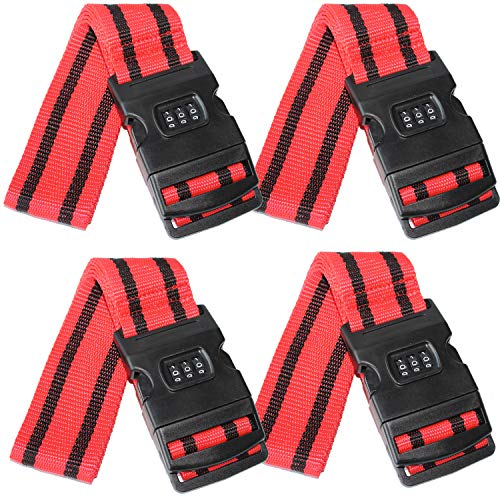 SEPOX 4-Pack Luggage Strap, Adjustable 69' Long Travel Packing Belt Suitcase Baggage Security Straps Black Password Buckle Luggage Straps Red-Black Stripes Luggage Travel Accessories Luggage Straps